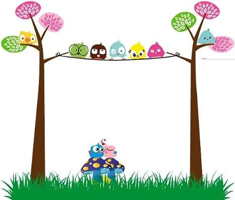 Vinilo Infantil-Quekukos vinilo buhos en arbol y setas 50x42cm color: Amazon.es: Bebé