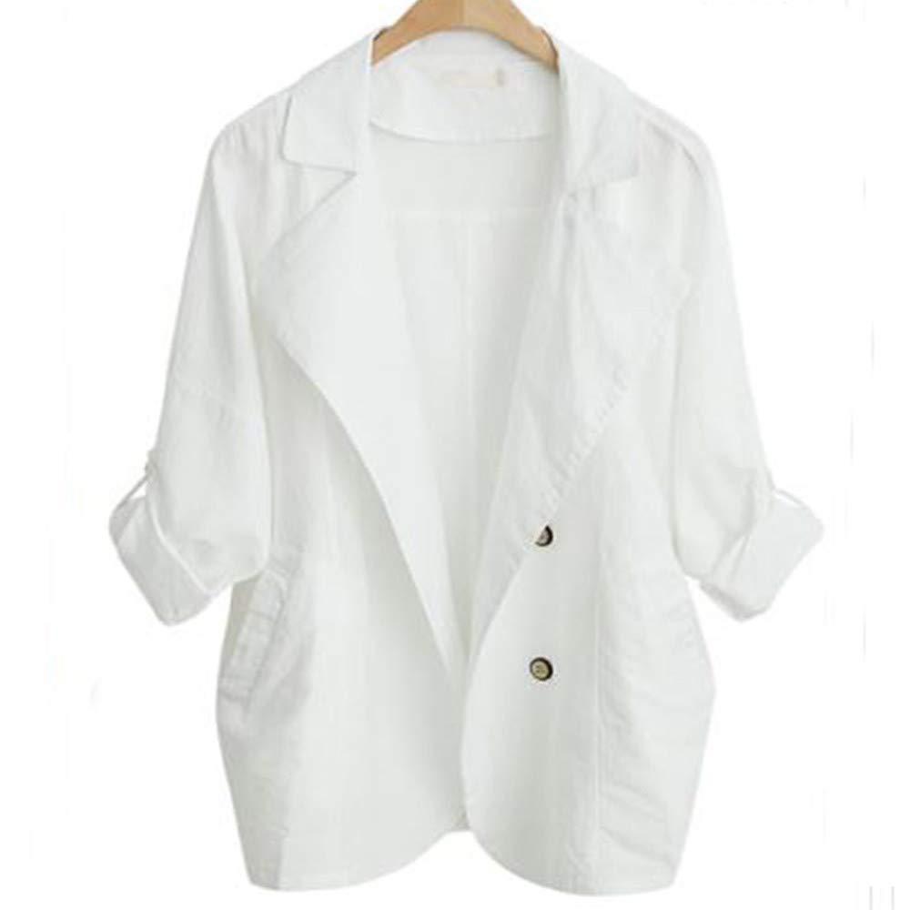 Faionny Women Autumn Windbreaker Tops Casual Cotton Jacket Long-Sleeved Solid Outwear