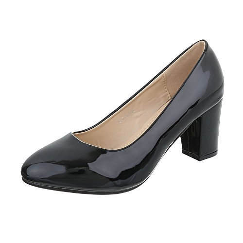 Ital-Design Women's Court Shoes Kitten Heel Classic Heels Black 9egxT98L3c