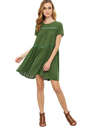 ROMWE Women's Solid Cute Short Sleeve Shift Swing Short Dress Green S