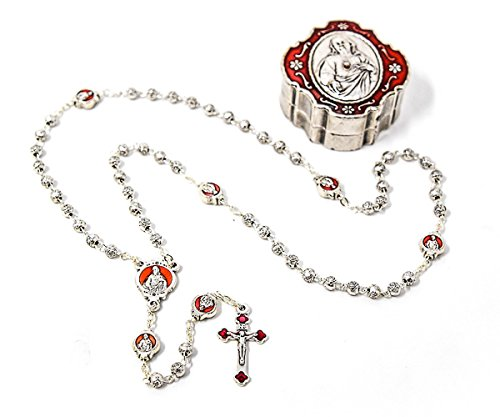 DIRECT FROM LOURDES Sacred Heart of Jesus Rosary Beads with Sacred Heart Matching Rosary Box - Catholic Rosary Beads