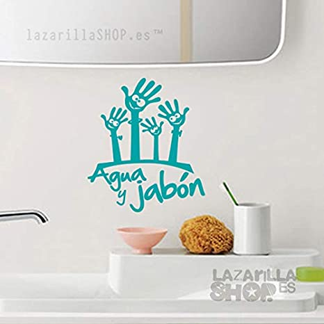 Magenta lazarillaSHOP/™ /• Pegatina Sticker Vinilo Agua Y JAB/ÓN Pegatina para ba/ño de ni/ño Familia Sticker WC Vinilo Aseo Infantil /• 20x16 cm