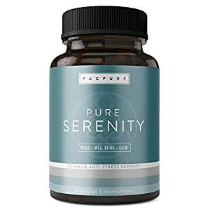 41Z834LytLL. SS300  - PURE SERENITY with 5 htp: Pharmaceutical Grade Natural Stress Support Supplement - Mood Enhancer, Anxiety Relief, Relaxation & Increased Serotonin Support - Ashwagandha, L-Theanine, Rhodiola, Bacopa