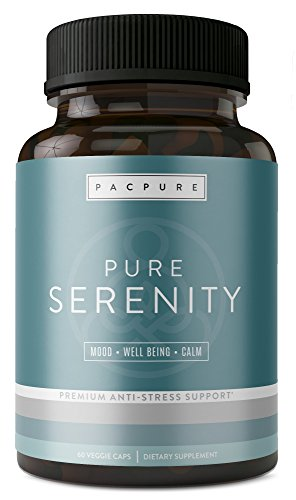 PURE SERENITY with 5 htp: Pharmaceutical Grade Natural Stress Support Supplement - Mood Enhancer, Anxiety Relief, Relaxation & Increased Serotonin Support - Ashwagandha, L-Theanine, Rhodiola, Bacopa Anxiety Vitamins