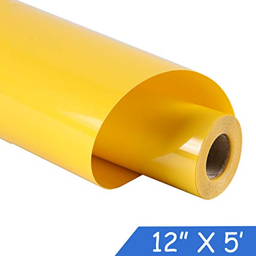 guangyintong Adhesive Heat Transfer Vinyl for T-Shirts 12 X 5 Feet Glossy Vinyl Roll (Yellow-k3)