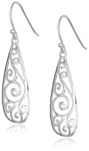 41Z83B66yJL - Sterling Silver Filigree Teardrop Earrings