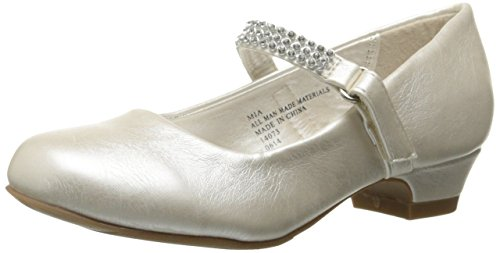 Swea Pea & Lilli Girl's Low Heel Girls Dress Shoe with Rhinestone Strap Ivory -