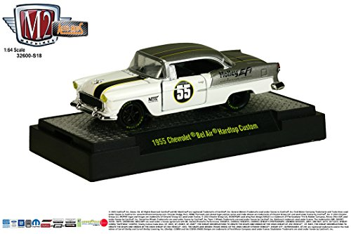 M2 Machines 1955 Chevrolet BEL AIR Hardtop Custom (White w/Gray Metallic Roof & Back) Auto-Mods Hobby Exclusive Release S18 2015 Castline 1:64 Scale Die-Cast Vehicle - Gto Hardtop Pontiac Judge