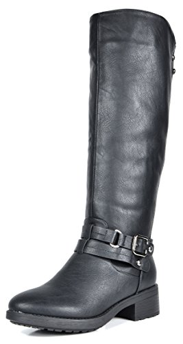 DREAM PAIRS Women's Uncle Black Knee High Motorcycle Riding Winter Boots Size 6 M US