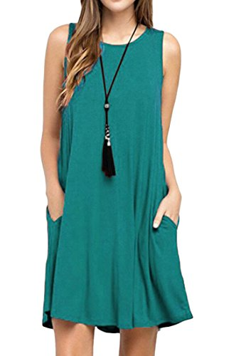 Casual Dress Mini Sleeveless Domple Loose Blue Crewneck Women Tank Pockets wWqUxpTExS