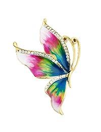 Ever Faith Gold-Tone Austrian Crystal Enamel Elegant Butterfly Brooch