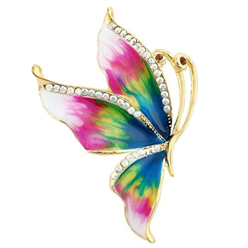Dress Brooch Butterfly (EVER FAITH Women's Austrian Crystal Enamel Elegant Butterfly Insect Brooch Pin Multicolor Gold-Tone)