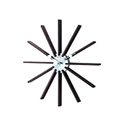 Telechron Square Wooden Spindle Wall Clock, Dark Wood