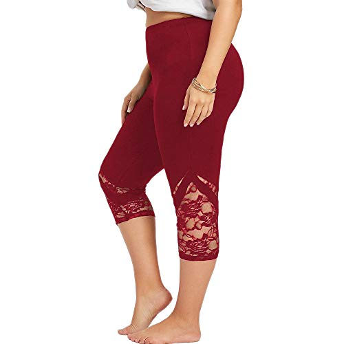 Dressin Women' Plus Size Yoga Leggings, Lace Skinny Sport Pants Exercise Trousers Solid Color Sport Pants for Women Red by Dressin (Image #1)
