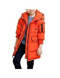 Boys' Winter Hooded Fur Long Down Coat Jacket