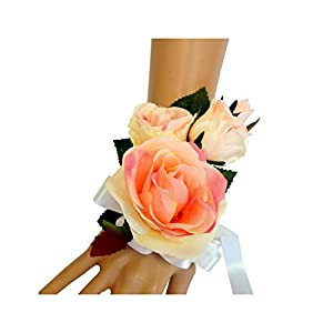 Wrist Corsage(XLWC003-RSPK)-Beautiful Quality Keepsake Wrist corsage-roses and pearl bracelet (Peach-Pink) 30