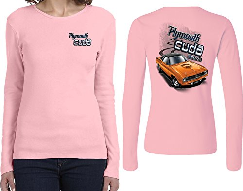 Dodge Plymouth Cuda (Front & Back) Ladies Long Sleeve, Pink, Small -