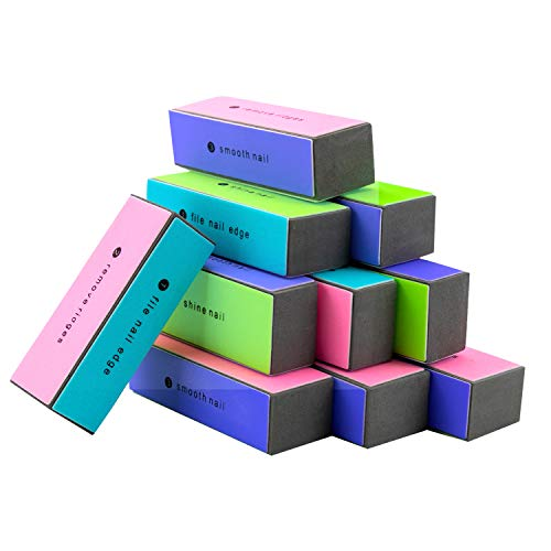 EZGO 10 Pieces 4 Way Shiny Nail Block, 4 Step Nail Buffing Block Shine Nail Buffer, Pedicure and Manicure Nail Buffer for Natural Nail