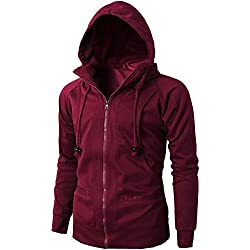 Realdo Mens Casual Solid Hoodie Clearance Sale,Mens Lightweight Sport Breathable Zipper Sweatshirt Big Promotion(3X-Large,Watermelon Red)