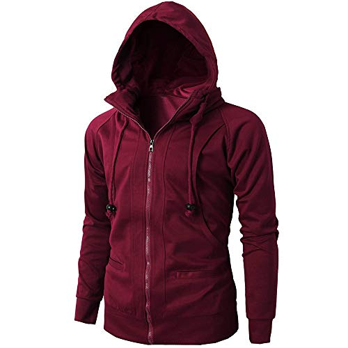 Realdo Mens Casual Solid Hoodie Clearance Sale,Mens Lightweight Sport Breathable Zipper Sweatshirt Big Promotion(3X-Large,Watermelon Red) -