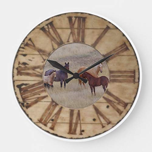 Horse and Foal Western Rustic Large Wood Wall Clocks Decorative Living Room Battery Operated Non Ticking 12 Inches Birthday Christmas ()