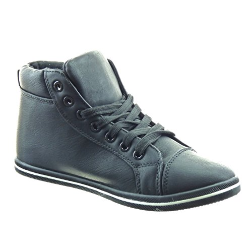 Sopily - damen Mode Schuhe Sneaker Fertig Steppnähte - Schwarz