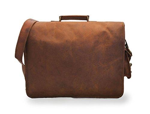 """Sacchetto di spalla del messaggero Handmade del computer portatile dell'annata di viaggio dell'ufficio unisex del cuoio puro di 16 """"/ 12"""" 100%."""