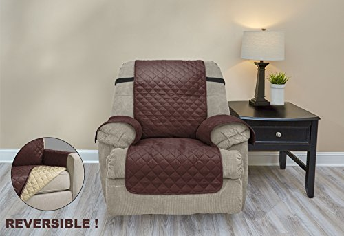 Premium Quality Reversible Couch Cover for Dogs, Kids, Pets - Sofa Slipcover Set Furniture Protector for 3 Cushion Couch, Recliner, Loveseat and Chair (Recliner, Chocolate / Tan) (Chair And Couch Covers)