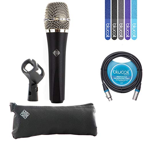 Telefunken M80 Black Handheld Dynamic Supercardioid Vocal Microphone - INCLUDES - Carrying Case, Blucoil 10' XLR Cable AND 5-Pack of Cable Ties (Hat Hi Mic)