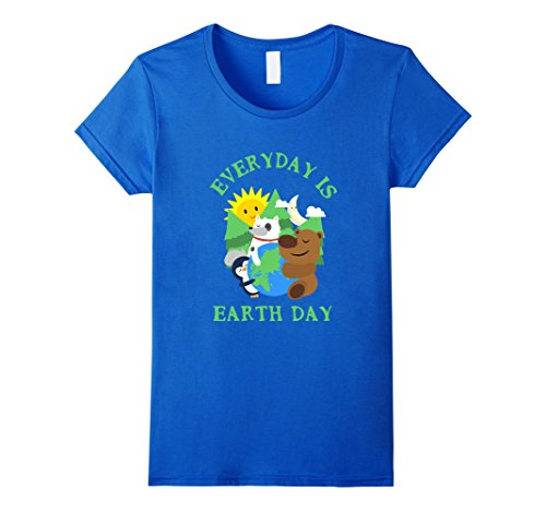 Women's CUTE EVERYDAY IS EARTH DAY T-SHIRT Love Animal Earth Gift XL Royal Blue (Cute Brother And Sister Costumes Halloween)