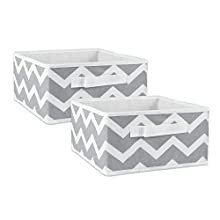 "DII Fabric Storage Bins for Nursery, Offices, & Home Organization, Containers Are Made To Fit Standard Cube Organizers (11x11x5.5"") Chevron Gray - Set of 2"