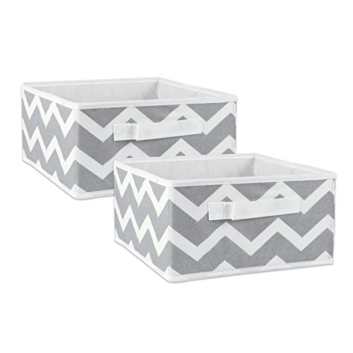 DII Fabric Storage Bins for Nursery, Offices, & Home Organization, Containers Are Made To Fit Standard Cube Organizers (11x11x5.5″) Chevron Gray – Set of 2