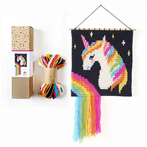 "Sozo - Unique 3D Colorful DIY Wall Art Embroidery kit. Craft Kit for Beginners. Wooden Dowels Included for Easy Display. Easier Than Cross Stitch. Size - 12.75"" X 11"" (Unicorn)"