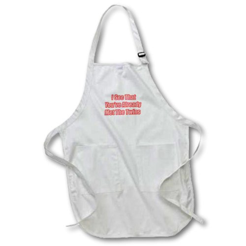 3dRose apr/_32804/_2 I See That Youve Already Met The Twins-Medium Length Apron 22 by 24-Inch with Pouch Pockets