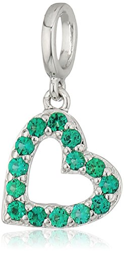 Rhodium Plated Sterling Silver Created Emerald Heart Dangled Charm
