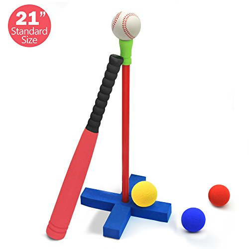 CeleMoon 21-inch Kids Soft Foam Baseball/Tball Set Toys, Different Colored Balls, Carry/Organize Bag Included, for Kids Over 3 Years Old (T Ball)