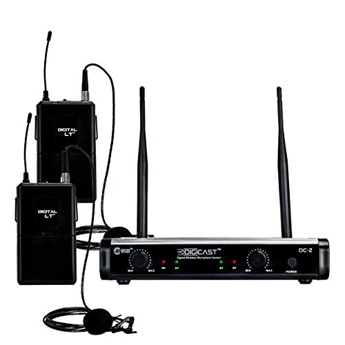 CenterStage DigiCast DC-2 Dual Digital Wireless Lapel Microphone System – 300 ft range – 48kHz / 24 bit - Simple set up – Detailed sound by Center Stage