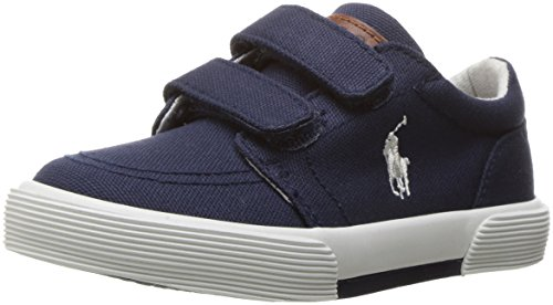 Polo Ralph Lauren Kids Boys' Faxon II EZ Sneaker, Navy Canvas, 7 Medium US Toddler