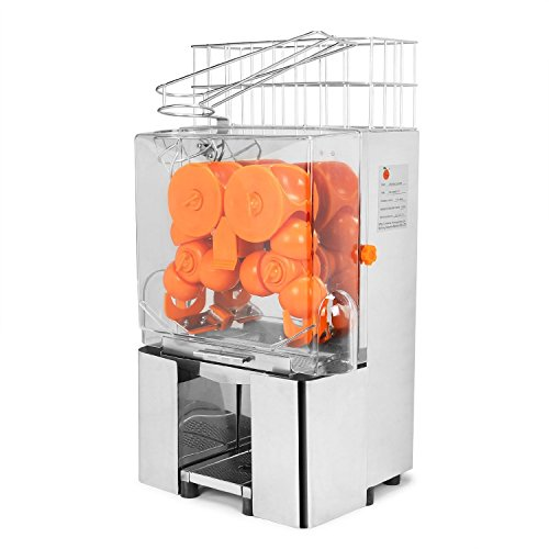 VEVOR Orange Juicer Commercial Auto Feed Orange Juicer Squeezer 120W Orange Juice Machine Squeeze 20-22 Oranges per Mins Stainless Steel Case