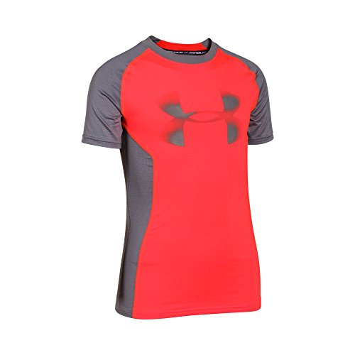 Under Armour Kids Up HeatGear Fitted Shortsleeve T, Bolt Orange/Graphite, Small / 8 Big Kids by Under Armour (Image #2)