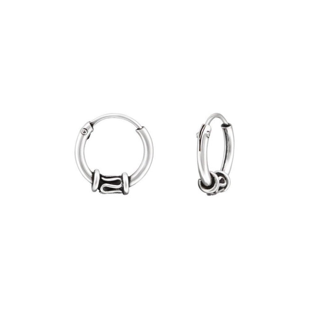 Sterling Silver 10mm Bali Hoop Earrings Glitzs Jewels 28432