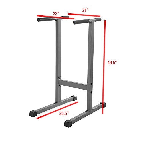 XMark Fitness Dip Station 500 lb. Weight Capacity Uniquely Engineered Angled Uprights Accommodate Men and Women XM-4443 by XMark Fitness