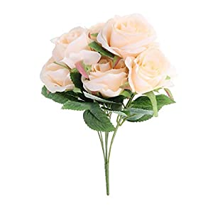 VORCOOL Artificial Silk Flowers Fake Rose Flower 7 Heads Rose Bouquet for Home Bridal Wedding Party Festival Decor (Champagne) 111