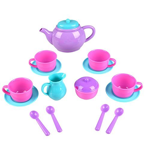 Kids Tea Set Toys for Toddlers Pretend Role Play Plastic Afternoon Tea Set Teapots Dishes Picnic Toy Set & Apron Party Game Toys for Kids Toddlers Children Girls by Peradix