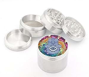 Hamsa Design Medium Size 4pcs Aluminum Herbal or Tobacco Grinder # G123114-0010