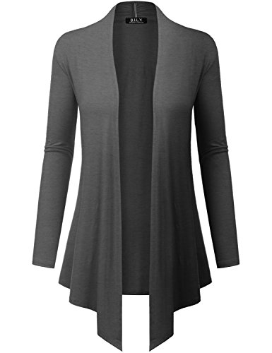 Because I Love You Women's Open Front Drape Hem Lightweight Cardigan - Small - Charcoal ()