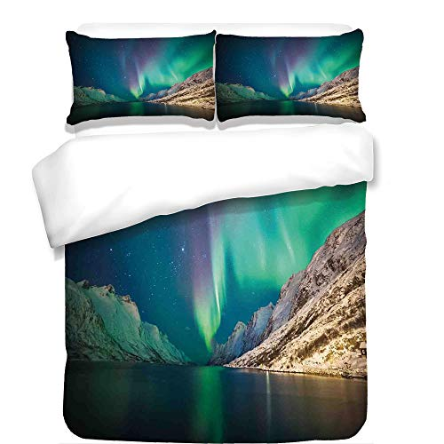 iPrint 3Pcs Duvet Cover Set,Nature Decor,Mystical Northern Lights Above Rocky Hills Magnetic Poles Solar Space Panorama,Jade Green,Best Bedding Gifts for Family/Friends by iPrint