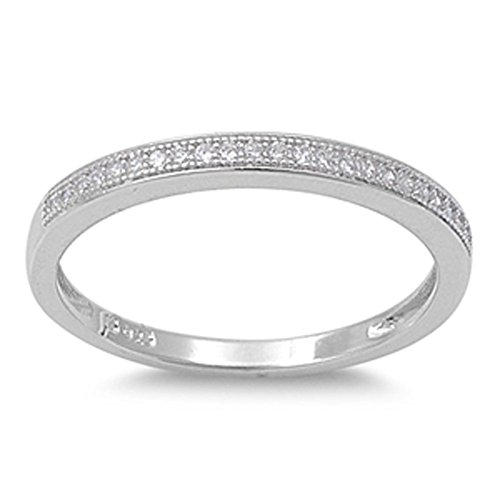 Sterling Silver Women's White CZ Cute Wedding Ring 925 Thin Band 2mm Size 7 (RNG11376-7)