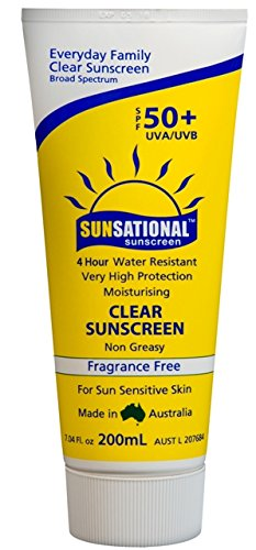 Sunsational Australian Sunscreen (6.8 Oz - 200ML) SPF 50+ UVA & UVB. PABA Free, Moisturizing, Water Resistant 4 Hours. Nano-Particle Free. Perfect Under Make-up. Made in Australia - TGA Approved.