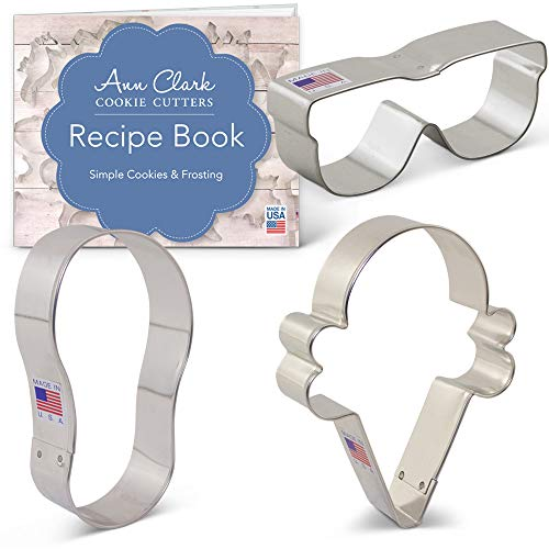 Ann Clark Cookie Cutters 3-Piece Summer Fun Cookie Cutter Set with Recipe Booklet, Flip Flop, Sunglasses, Ice Cream Cone (Sunglasses Cookie Cutter)